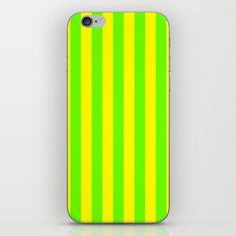 Super Bright Neon Yellow and Green Vertical Beach Hut Stripes iPhone Skin