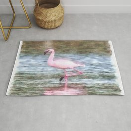 Lesser Flamingo Watercolor Rug