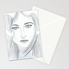 Woman with goat horns Stationery Cards