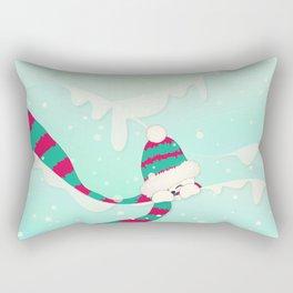 Christmas Peekaboo Snowman I - Mint Blue Snowy Background Rectangular Pillow