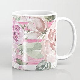 Country chic watercolor pastel green pink geometric floral Coffee Mug