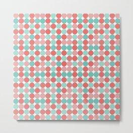 Cheerful Mini Dots in Coral Pink and Aqua Metal Print