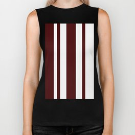 Mixed Vertical Stripes - White and Bulgarian Rose Red Biker Tank