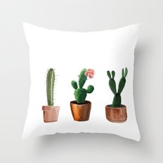 Three Cacti On White Background Throw Pillow