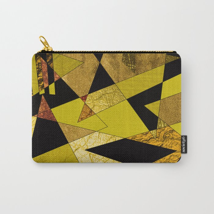 Abstract #508 Black, Gold & Copper Shards Carry-All Pouch