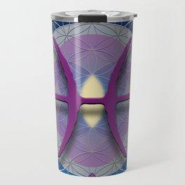Flower of Life PISCES Astrology Design Travel Mug