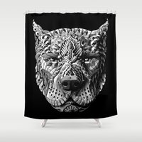pitbull Shower Curtains featuring Pitbull by BIOWORKZ