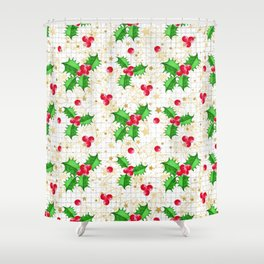 Christmas holly berries Shower Curtain