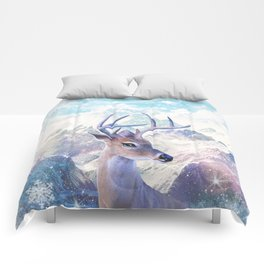 Fairy deer in the mountains Comforters