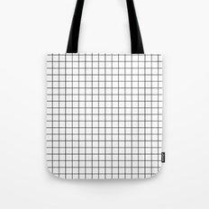 Geometric Black and White Grid Print Tote Bag
