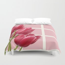 Beautiful Tulips & Pink Square Grid Duvet Cover