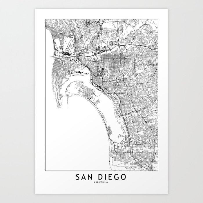 San Diego White Map Kunstdrucke