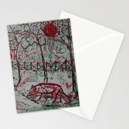 Fox and the Red Sun Stationery Cards