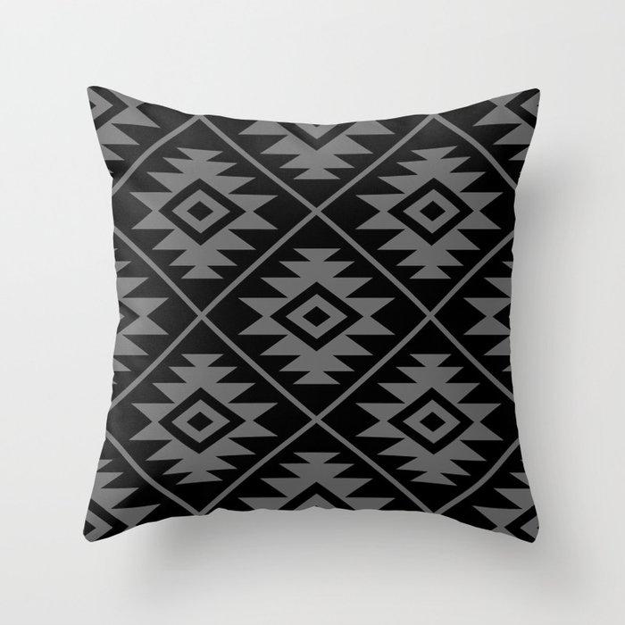 Aztec Symbol Pattern Gray on Black Throw Pillow