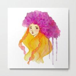 Girl with purple flower Metal Print