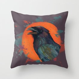 Raven Sun Throw Pillow
