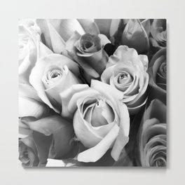 Petals in Black and White Metal Print