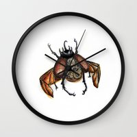 steam punk Wall Clocks featuring Steam punk beetle by Coffeeholic Art