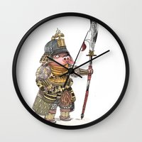 bouletcorp Wall Clocks featuring Cochon Samouraï by Bouletcorp