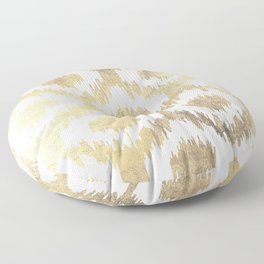 Modern white hand drawn ikat pattern faux gold  Floor Pillow