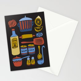 Kitchen Utensils on Black Stationery Cards