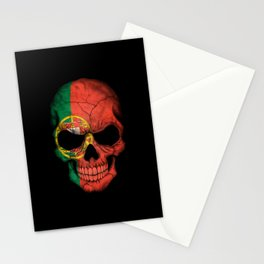 Dark Skull with Flag of Portugal Stationery Cards