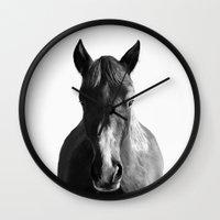 horse Wall Clocks featuring Horse by Amy Hamilton