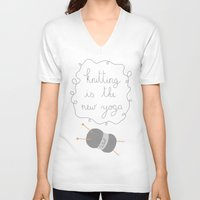 knitting V-neck T-shirts featuring Knitting by Virginia