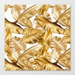 Gold Leaves Aloha Tropical Foliage Pattern Canvas Print