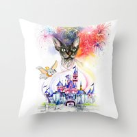 simba Throw Pillows featuring Simba the princess sphynx by Psyca