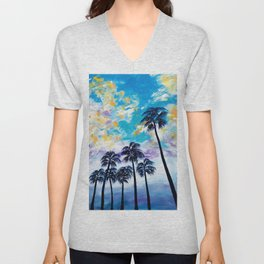Oceanside Palm Trees Unisex V-Neck