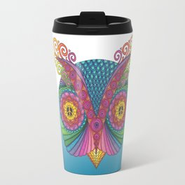 Owl Head with Peace Signs Travel Mug