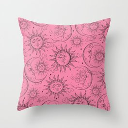 Pink Magic Celestial Sun Moon Stars Throw Pillow