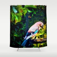 jay fleck Shower Curtains featuring Eurasian Jay by Vix Edwards - Fugly Manor Art