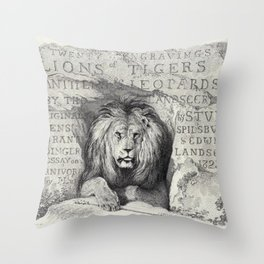 Vintage Lion etching Throw Pillow