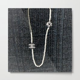 vintage pearls necklace Metal Print