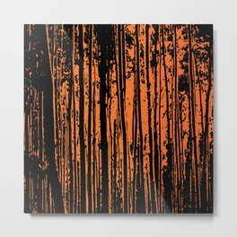 Orange Tree Silhouettes Metal Print