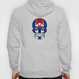 Sugar Skull with Roses and Flag of Cuba Hoody