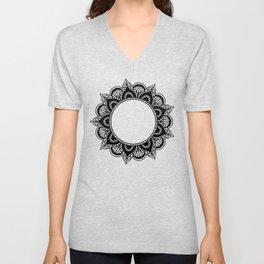 Mandala: black and white Unisex V-Neck