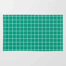 Paolo Veronese green - green color - White Lines Grid Pattern Rug