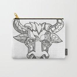 Pinzgauer Bull Head Front Doodle Art Carry-All Pouch