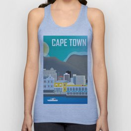 Cape Town, South Africa - Skyline Illustration by Loose Petals Unisex Tank Top