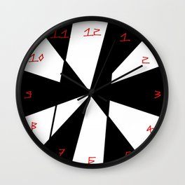 oblique clock- clock,fun,black,red,white,psychedelic,crazy,relativity,abstraction Wall Clock