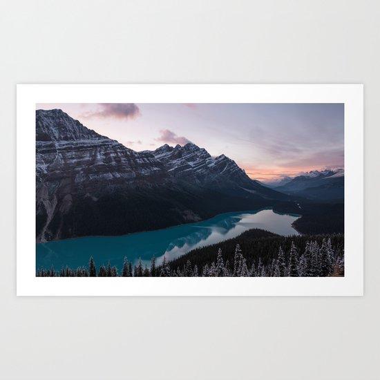 Peyto Lake at dusk Art Print