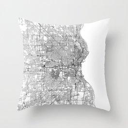 Milwaukee White Map Throw Pillow