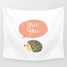 Hedgegog love Wall Tapestry