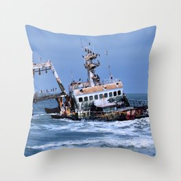 Shipwreck on the Coast of the Skeletons, Namibia Throw Pillow