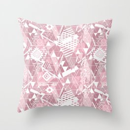 Abstract ethnic pattern in dusky pink, white colors. Throw Pillow