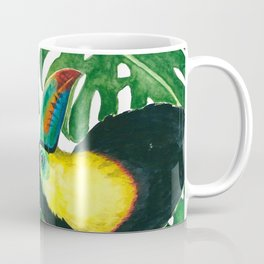 Toucan parrot with monstera leaf pattern Coffee Mug