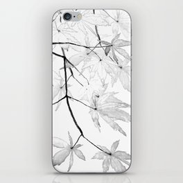 black and white maple leaves iPhone Skin
